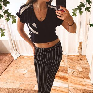 Love Culture Striped Navy Crop Top Pocket Casual S